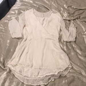 White sheer lined tunic free people